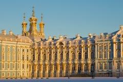 Catherine Palace no final da luz solar da tarde Noite de fevereiro em Tsarskoe Selo, Rússia fotografia de stock royalty free