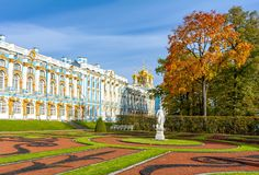 Catherine palace and park in autumn foliage, Tsarskoe Selo Pushkin, St. Petersburg, Russia stock photos