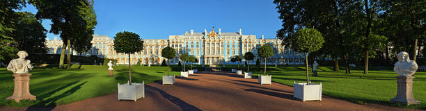 Catherine Palace in Pushkin. Panorama of Catherine Palace and park in Pushkin Stock Images