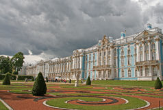 Catherine Palace,  ST. PETERSBURG, TSARSKOYE SELO, RUSSIA. ST. PETERSBURG, TSARSKOYE SELO, RUSSIA - JUNE 26, 2008: Catherine Palace with garden Royalty Free Stock Photos
