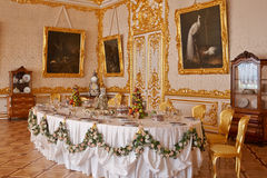 Catherine Palace in. Catherine Palace Table, Russia, St. Petersburg stock images