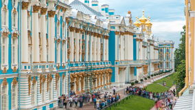 The Catherine Palace timelapse is a Rococo palace located in the town of Tsarskoye Selo Pushkin. Top view of the Catherine Palace timelapse is a Rococo palace stock video