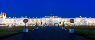 Catherine palace in Tsarskoe Selo Pushkin at night, St. Petersburg, Russia royalty free stock photos