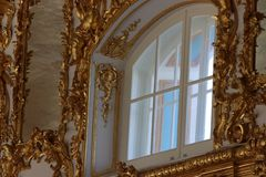Catherine palast in st. petersburg in russia from inside with gold ornamentation. royalty free stock photos
