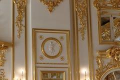 Catherine-palast in St Petersburg in Russland von innen mit Kamin stockbilder