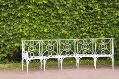 Catherine Park dans Tsarskoye Selo avec les bancs blancs Images stock