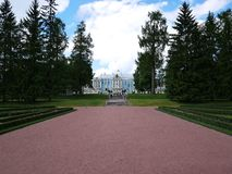 Catherine Park, Tsarskoye Selo Catherine Palace in Rusland, St. Petersburg, door toeristen die over de hele wereld wordt bezocht  stock fotografie