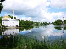 Catherine Park, Tsarskoye Selo Catherine Palace in Rusland, St. Petersburg, door toeristen die over de hele wereld wordt bezocht  stock afbeeldingen