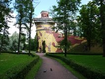 Catherine Park, Tsarskoye Selo Catherine Palace in Rusland, St. Petersburg, door toeristen die over de hele wereld wordt bezocht  stock foto's
