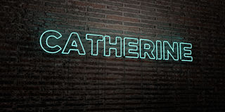 CATHERINE -Realistic Neon Sign on Brick Wall background - 3D rendered royalty free stock image. Can be used for online banner ads and direct mailers Stock Images