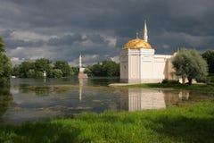 Catherine's  park. And  Chesme Column in Tsarskoye Selo Royalty Free Stock Photography