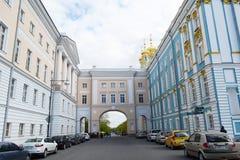 Catherine slott i Tsarskoe Selo Arkivfoton