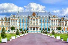 Catherine slott i Tsarskoe Selo i sommar, St Petersburg, Ryssland arkivbild