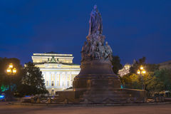 Catherine theater and the monument to Catherine II, St. Petersbu Royalty Free Stock Photos