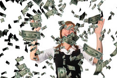 Cathicng falling dollars Stock Photography