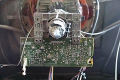 Cathode ray tube. Cathode ray tube, old television rear side stock photos