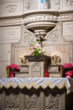 Catholic ALtar. Roman Catholic Altar with candles and flowers Stock Photography