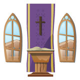 Catholic altar and windows, interior of Church Stock Photo
