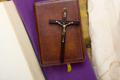 Catholic Bible bound in leather Stock Image