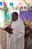 Priest speaking on Festa Junina. A catholic Brazilian priest speaking in a mass on Festa Junina of Saint Anthony on June 13 stock photos