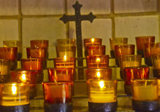 Catholic Candles and Cross Royalty Free Stock Photography