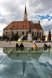 Catholic Cathderal in Cluj. The Catholic Cathedral and its reflection in Union Sqaure in Cluj, Romania royalty free stock image