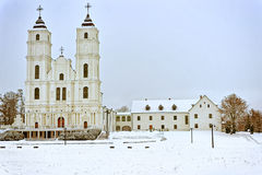 Catholic Cathedral in Aglona, Latvia in winter. Catholic Cathedral in Aglona town, Latvia in winter Royalty Free Stock Images