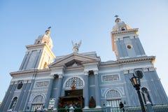 Catholic Cathedral church during Christmas time at sunset. Santiago de Cuba, Cuba - December 21, 2016:  Catholic Cathedral church during Christmas time at sunset Royalty Free Stock Photos
