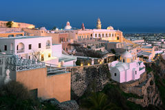 Catholic Cathedral Church of Saint John The Baptist in the Evening, Fira, Santorini stock photos