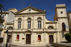 Catholic cathedral in Corfu Town (Greece). Facade of the catholic cathedral of Saint Jacob and Saint Christopher in Corfu Town (Greece). Built in 1588, heavily Stock Photography