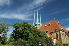 Domplatz in Erfurt, Thuringia, Germany. Catholic cathedral at the Domplatz in Erfurt city, historical center stock photo