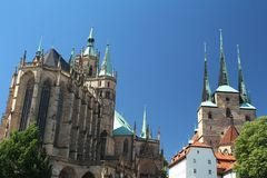 Domplatz in Erfurt, Thuringia, Germany. Catholic cathedral at the Domplatz in Erfurt city, historical center stock photography