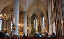 Catholic cathedral interior. The catholic cathedral interior. Austria Stock Photography