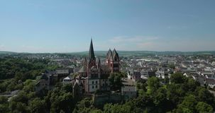 Catholic Cathedral of Limburg. The Catholic Cathedral of Limburg is high location on a rock above the Lahn river, Limburg, Germany, Jun 2017 stock video