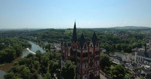 Catholic Cathedral of Limburg. The Catholic Cathedral of Limburg is high location on a rock above the Lahn river, Limburg, Germany, Jun 2017 stock footage