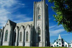 Catholic cathedral of Reykjavik, Iceland. Catholic cathedral and the gardens of Reykjavik, Iceland Stock Image