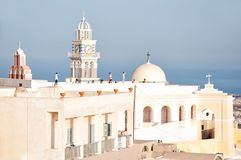 The Catholic Cathedral St. John the Baptist in Fira, Santorini, Aegean sea. Royalty Free Stock Images