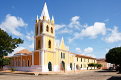Catholic Cathedral. And street in the historic town of Coro, Falcon State, Venezuela. UNESCO heritage site Royalty Free Stock Photo