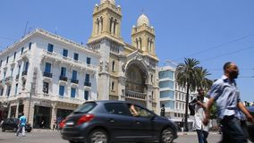 Catholic cathedral in Tunis, Tunisia. TUNISIA, TUNIS, JUNE 30, 2010: Catholic cathedral on Habib Bourguiba avenue in Tunis, Tunisia, June 30, 2010 stock footage