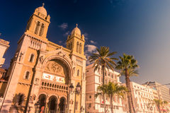 The catholic Cathedral in Tunisia, Tunis. Royalty Free Stock Photography