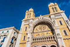 The catholic Cathedral in Tunisia, Tunis. The catholic Cathedral of St Vincent de Paul at the Place de l`Independence in the Ville Nouvelle. Tunisia, Tunis Stock Photo