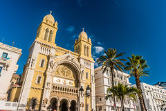The catholic Cathedral in Tunisia, Tunis. The catholic Cathedral of St Vincent de Paul at the Place de l`Independence in the Ville Nouvelle. Tunisia, Tunis Stock Image
