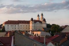 Catholic cathedral in ukrainian Uzhhorod city at dawn Stock Images