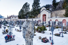 Catholic cemetery on high mountains Stock Photography