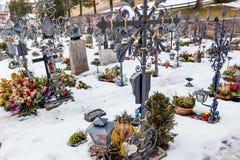 Catholic cemetery on high mountains Stock Photo