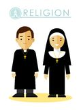 Catholic christian priest man and woman Stock Photo