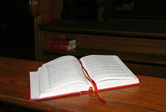 The catholic christian song book in Czech church. The catholic christian song book in church Stock Images