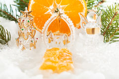 Catholic Christmas composition. The trail leading to the tree, the birth of Christ and the angel new year decorations, mandarin. Catholic Christmas composition royalty free stock photography