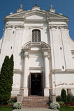 Catholic Church. A front view of a Catholic Church with bright blue sky royalty free stock photo