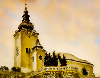 Catholic church building, architectural dominant of the city, graphic from painting. Stock Images